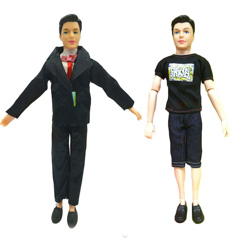 Ken Prince Doll with Black formal Dress+T-shirt Pants+Shoes Casual Denim Clothes Suits Barbiee Boyfriend Kids Best New Year Gift