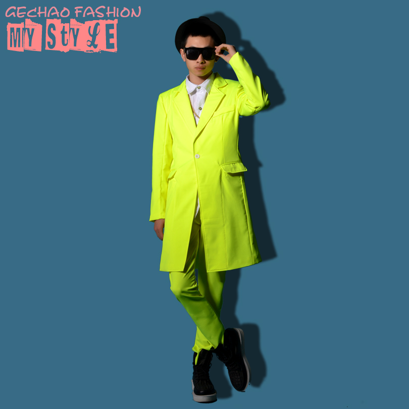 Custom! S-6XL 2016 new male singer DJ nightclub stage costumes Men's Slim Chaoliang fluorescent green suit jacket + pants suit
