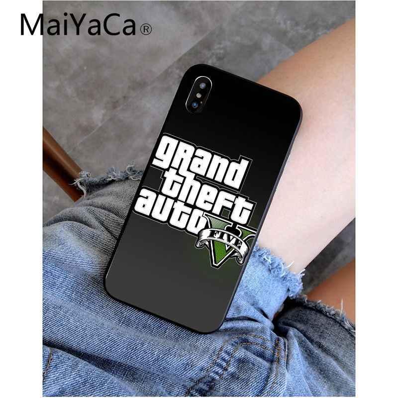 MaiYaCa rockstar gta 5 แกรนด์ Theft TPU ซิลิโคนสีดำโทรศัพท์กรณีสำหรับ iphone ของ Apple iphone 8 7 6 6 S Plus X XS MAX 5 5 S SE XR มือถือ