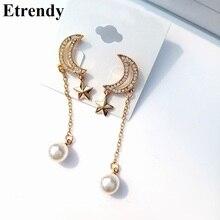 Star Moon Tassel Long Earrings For Women Korean Fashion Drop Earrings 2019 Simulated Pearl Jewelry Wholesale Bijoux цены