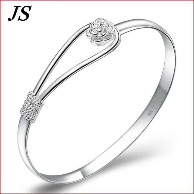 JS Charm Braclet Women Pulseras Mujer Pulceras de Plata 925 Silver Rose Flower Bracelet Femme Female Braslet Jewlery SB002