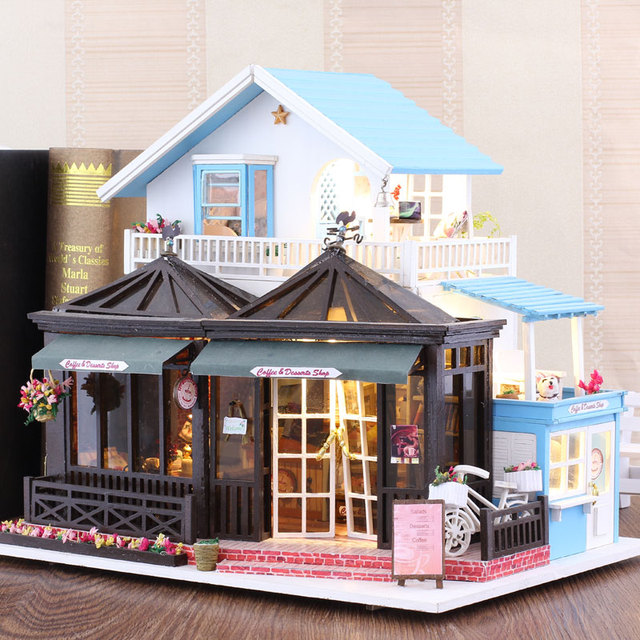 Coffee Shop Shaped Three Layer Wooden Doll House