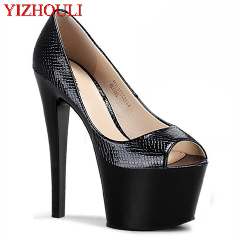 Здесь продается  The new 2018 party platform peep toe high heel shoes 17 cm high sexy black Pumps  Обувь