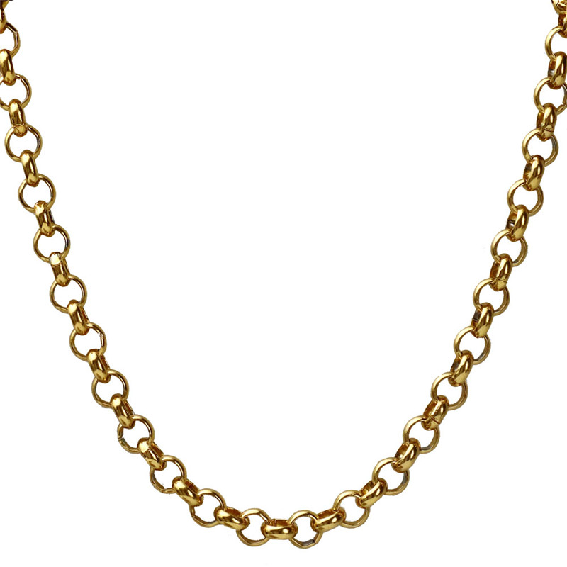 7mm Belcher Chain Necklace Men 316L Stainless Steel Gold Rolo Chain Necklace Hippie Hip Hop Jewelry 22in Fathers Day Gift