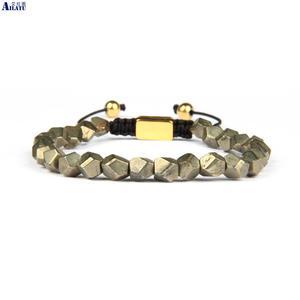 Image 1 - Ailatu benzersiz hediyeler, erkek el kesim boncuklu doğal pirit taş makrome bilezik takı erkekler ve kadınlar için