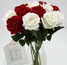 1 pc Fake Artificial 9 Colors Flowers Flannelette Roses Flower Bouquet Non-woven Fabrics Wedding Party Plants
