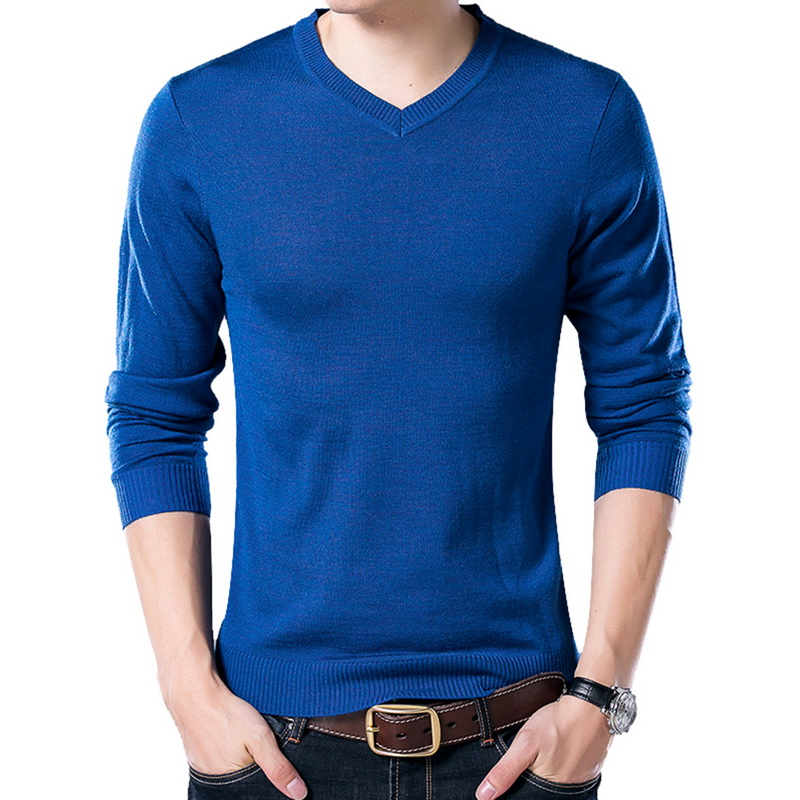 MJARTORIA Men's Spring And Autumn Fashion Casual V-neck Solid Color Long Sleeve Sweater Wool Slim Knit Bottoming Shirt