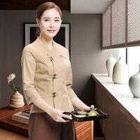 Chinese Beauty Salon SPA Uniform New Designs Short Sleeve Pink Work Wear Thai Massage Linen Cotton Uniforms Set Hotel Workwear