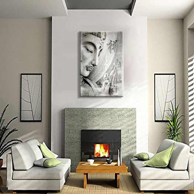Grey Buddha Large Hd Wall Art Printed Abstract Canvas Painting Home Living Room Framed Ready To Hang