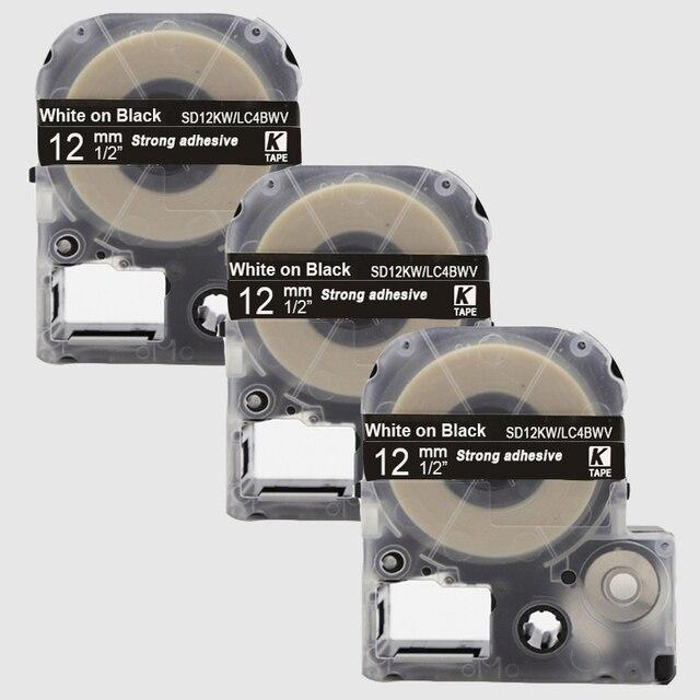"CIDY 3 יחידות תואם 12 מ""מ קלטת SD12KW לבן על שחור תיוג משמש עבור KingJim LabelWorks LW300 lw400"
