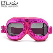 BJMOTO Vintage Pink Motorcycle Aviator Glasses Antiparras Motocross Gafas Moto