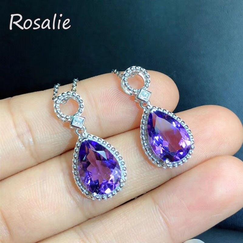 Rosalie, 100% Naturel améthyste Poire 9*13mm 3ct pierres précieuses pendentif avec chaîne 925 en argent sterling fine jewelry pour les filles beau cadeau