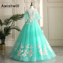 Fashionable Ball Gown Prom Dress With Sleeves Flowers Lace T