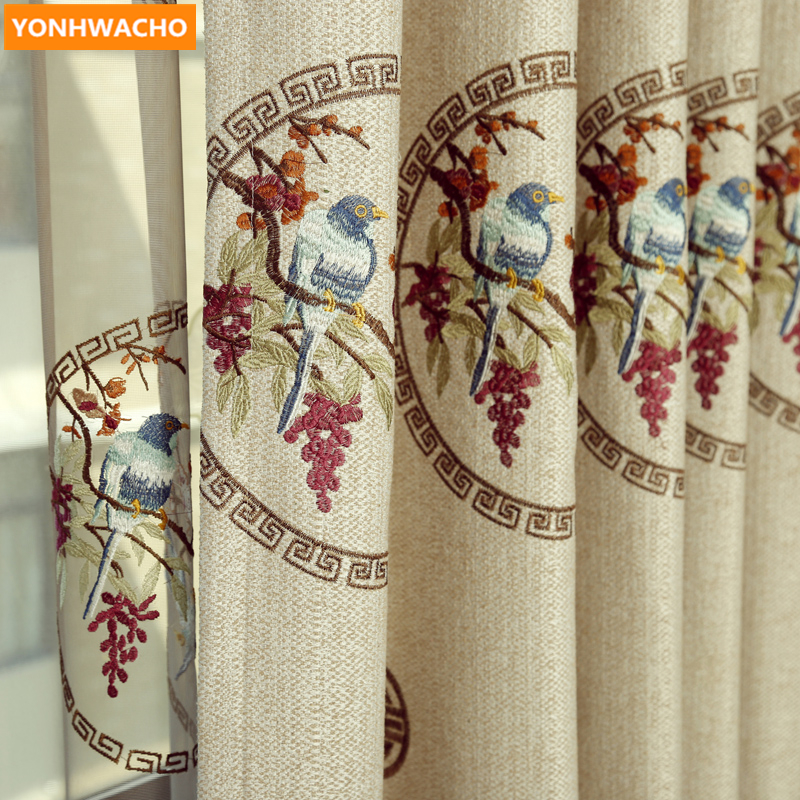 Custom curtains Modern Chinese classical bedroom cotton linen embroidery fabric cloth blackout curtain tulle panel B388Custom curtains Modern Chinese classical bedroom cotton linen embroidery fabric cloth blackout curtain tulle panel B388