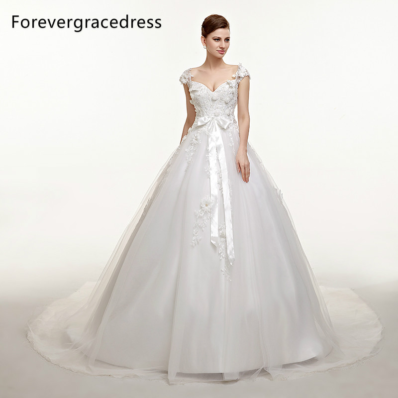 Forevergracedress Modest Long font b Wedding b font Dress V Neckline Applique Handmade Flower Long Backless