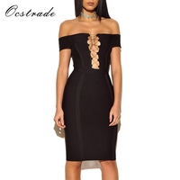 Ocstrade 2017 New Fashion Women Summer Style Black Off Shoulder Mini Lace Up Sexy Bandage Dress
