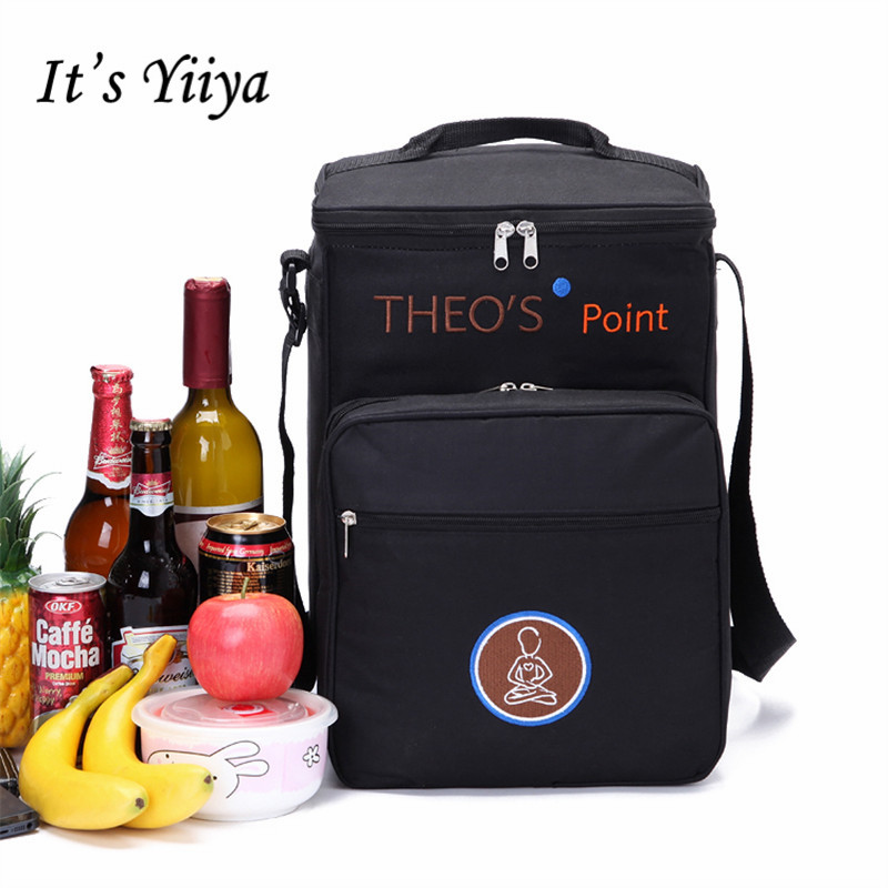 Free Shipping New Black Nylon Waterproof Picnic Cooler Bags Lunch Bag Thermal Bags For Food Handbags Insulation Ice Pack BD9011