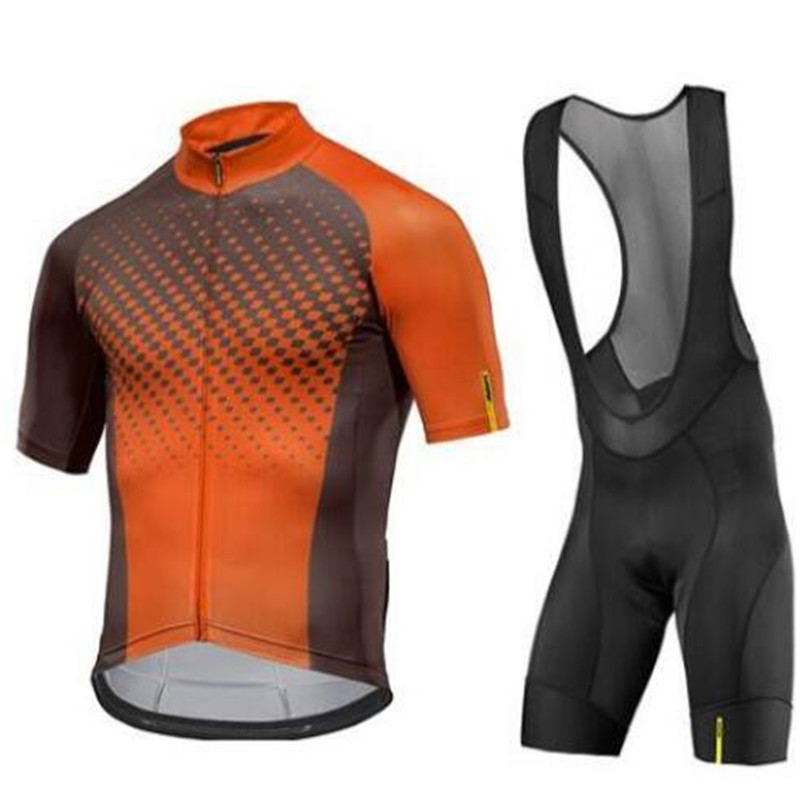Men Team Jersey MAVIC Pro Team Orange Cycling Jersey Ropa Ciclismo Quick Dry Sports Cycling Set Bike Clothing Cycle Bicycle Wear