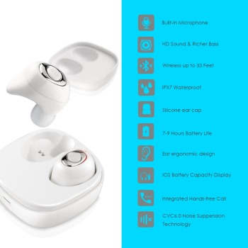 Waterproof ture wireless earbuds bluetooth 5.0 wireless headphones earphone TWS earpiece headset for swimming with charging case