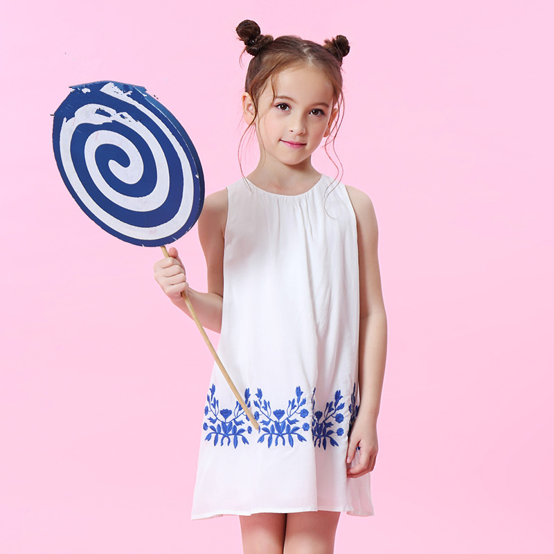 WL.MONSOON Brands child 2018 summer New Girls dress Sleeveless children's vest dress A-line dress girls grid a line flared dress