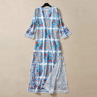 HIGH QUALITY Fashion 2017 Runway Maxi Dress Women's Beading Collar Long Sleeve Vintage Floral Loose Long Dress Size S-XL