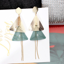New Korean Style Gold Color Multilayer Triangle Earrings for Women Hollow Charm Dangle Earings Fashion Jewelry 2019