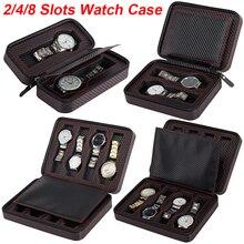 Boîte de montre Portable Fibre PU cuir étui de voyage montre boîte de rangement organisateur carbone montre boîtier 2/4/8 fente exquis Durable Q20
