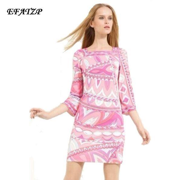New Fashion Designer Brand Dress Women's Geometric Print Print Square Collar 3/4 Sleeves Jersey Silk Dress XXL Day Dress