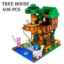 Model building kits compatible with lego 18009 my worlds MineCraft The Jungle Tree House Educational toys hobbies for children