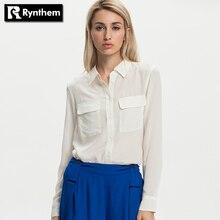 Rynthem женщины шелковые рубашки с длинным рукавом твердые отложным воротником элегантные дамы случайные блузка рубашка карманы clothing горячей продажи