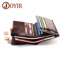 JOYIR Genuine Leather RFID Mens Wallet Short Coin Purse Small Zipper&Hasp Walet Male Wallets Money For Card Holder