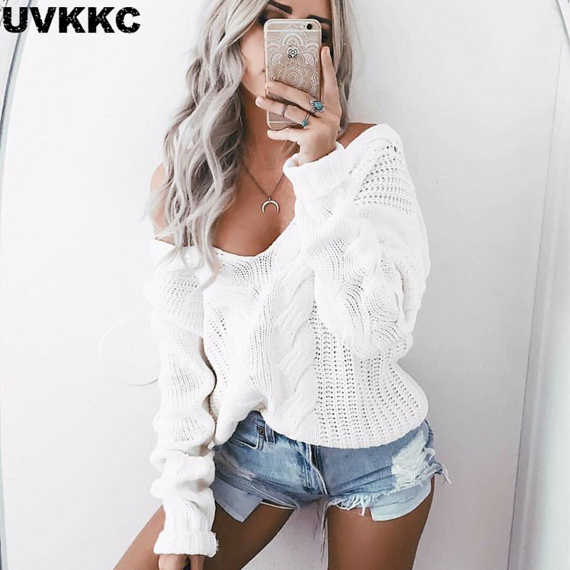 UVKKC Women winter knitted sweater women 2016 Autumn white hollow out pullover sweater Sexy deep v neck long sleeve jumpers