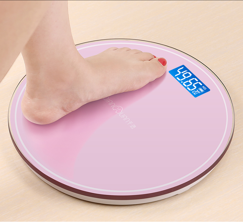 Round Bathroom USB Smart Weighing Scale Body Weight Measure Digital Mi Floor scales Bascula Digital Peso Corporal Black Pink