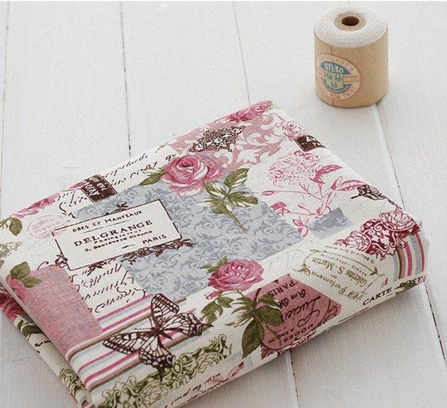 livraison shipp1 m tre shabby chic roses et papillons toile vintage coton m lang tissu pour. Black Bedroom Furniture Sets. Home Design Ideas