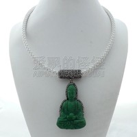 N112407 20 Green Buddha Pendant White Leather Necklace