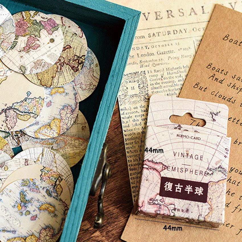 Купить с кэшбэком 46pcs/box Lovely Retro hemisphere Label DIY Decorative Scrapbooking Stickers Diary Album Sticker Label Phone Seal Stickers