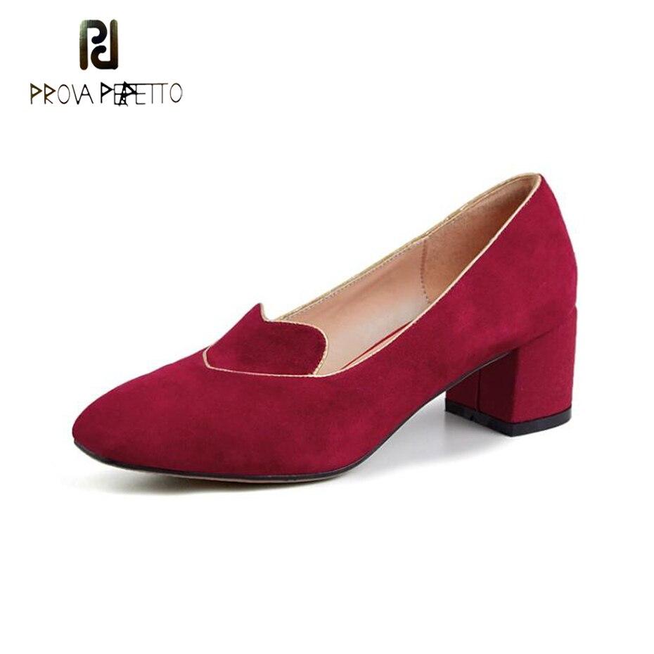 Prova Perfetto 2019 printemps femmes pompes enfant daim carré haut talon travail chaussures rétro style bout carré robe de soirée chaussures coeur rouge