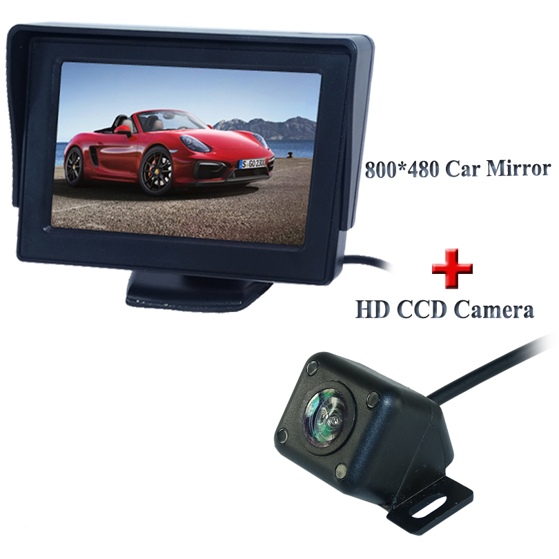 Universal ir lights car rearview camera 360 wide angle ccd image with hot selling car display monitor 4.3adapt for all cars