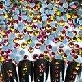1440 pcs NOVO 2016 Brilho Multicolor Pedras de Fogo Dicas Etiqueta Do Prego 3d Glitter Pedrinhas DIY Hot Fix Natator Decoração De Vidro NRS03