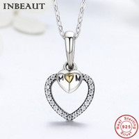INBEAUT 925 Sterling Silver LOVE Mother Heart Shaped CZ Zircon Pendant Necklace Chain For Mum Gift