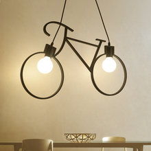 Retro Bicycle Pendant Lights Living Dining Room Iron Lamparas Colgante Moderna Luminaria Industrial Lamp Loft Decor Hanglampen