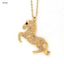 Hzew Новый Два цвета Кристалл runnig полые Милая лошадь кулон