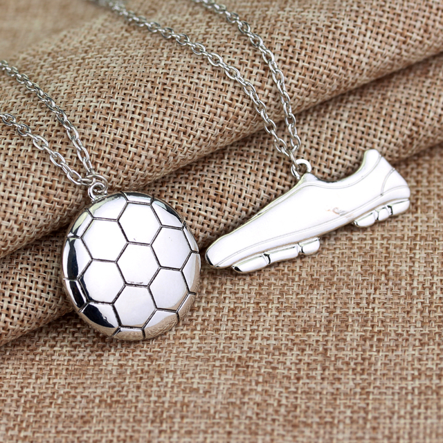 Football Boots Shoes Link Chain Soccer Charm Necklace Pendant Silver Sporty Styl