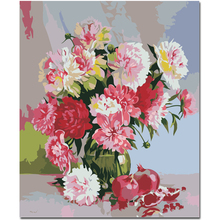 WEEN Pink Flowers Pomegranates-DIY Framed Oil Painting By Numbers, Coloring Modern Wall Art Picture,Home Decoration