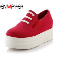 ENMAYER Women Spring Autumn Round Toe Loafers Women Cotton Made White Platform Shoes Casual Shoes Big