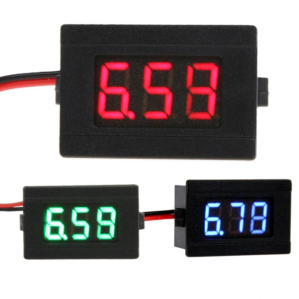 <font><b>0.36</b></font> inch <font><b>DC</b></font> 4.5-30V Two Line <font><b>Volt</b></font> <font><b>Meter</b></font> Blue/red/green <font><b>LED</b></font> <font><b>Digital</b></font> Display <font><b>Voltmeter</b></font> Gauge Voltage Panel <font><b>Meter</b></font> 2 wires Quality