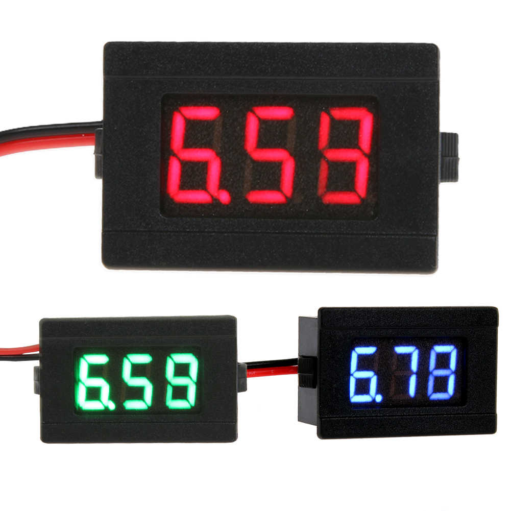 small resolution of 1pc 0 36 dc 4 5 30v red blue green led ampere panel voltage meter mini