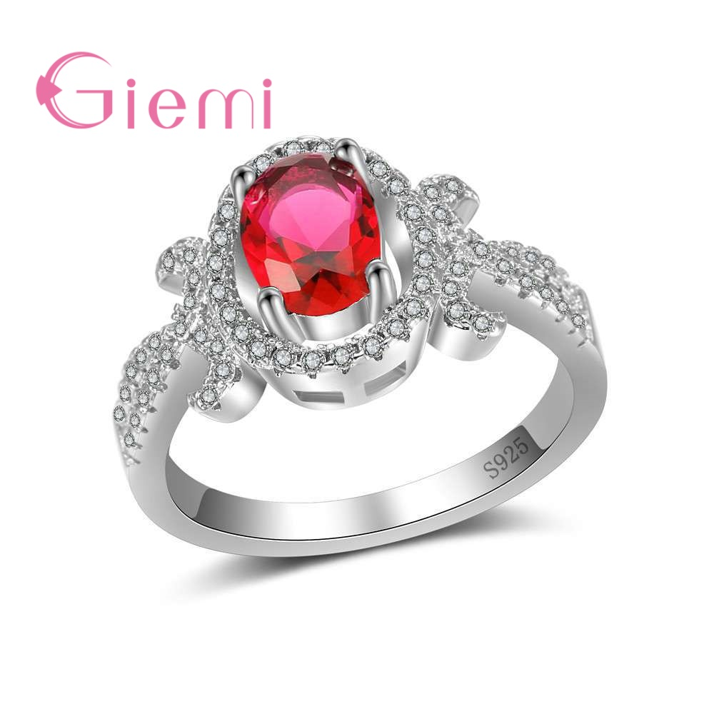GIEMI New Special Arrival 925 Sterling Silver Rings for Women Ladies Ture Love Gifts Unique Flower Jewelry Wedding Gifts