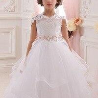Elegant V Back Girls Dress for aby Kid Wedding Bridesmaid Multi layer Tulle Long Children Princess Dress Vintage Kids Dresses