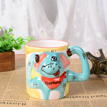 3D stereo hand painted cartoon funny animal mug office large ceramic cup children drinkware Christmas gift
